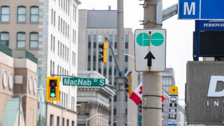 Shot of the intersection of King and MacNab in downtown Hamilton