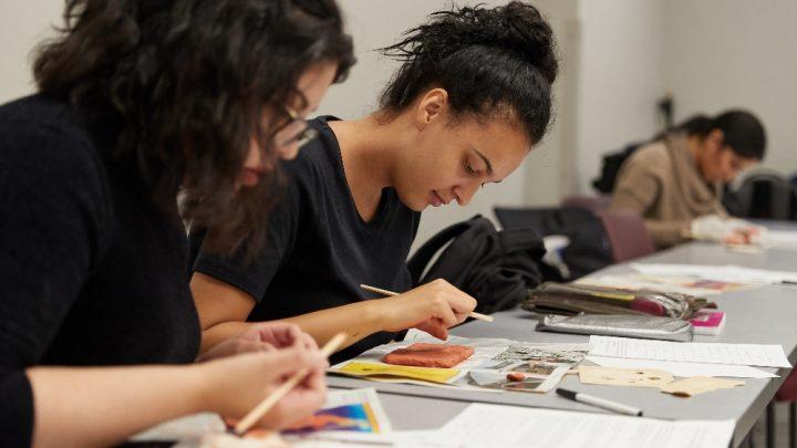 Students working on a art project in class